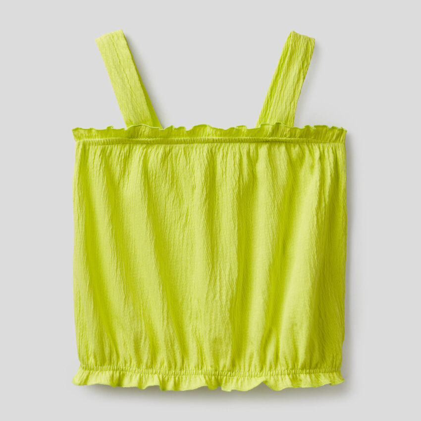 Stretch top with ruffled effect