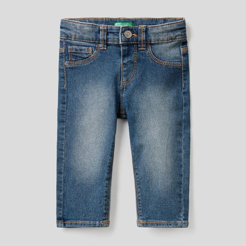 Stretch cotton blend jeans