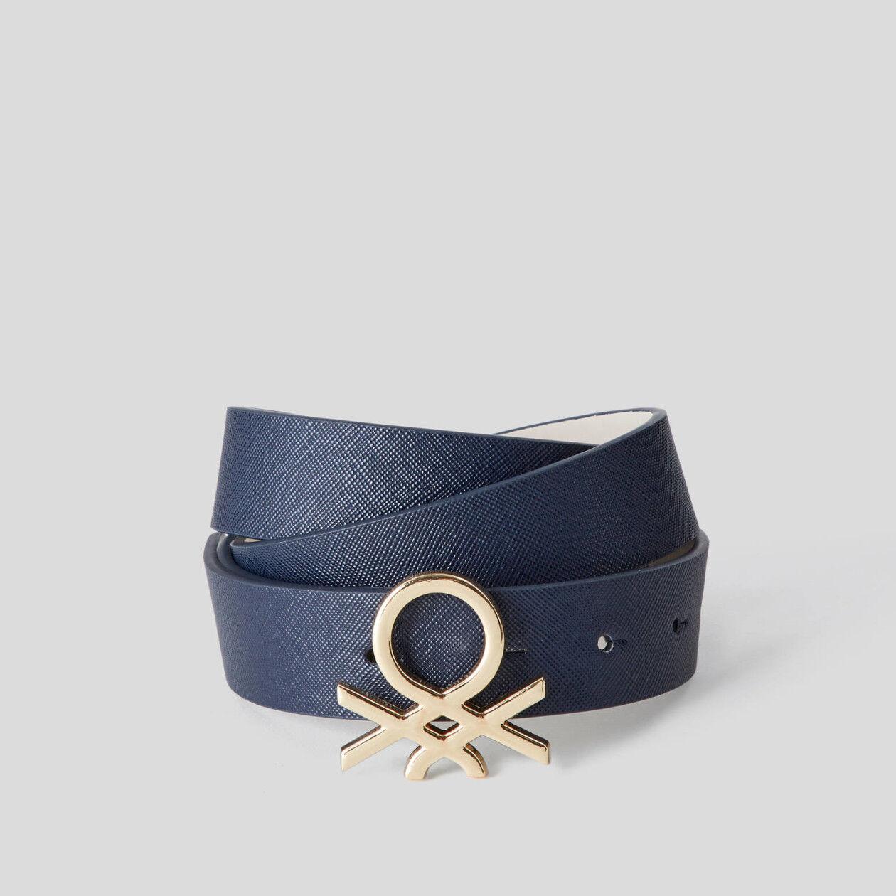 Belt with metal logo