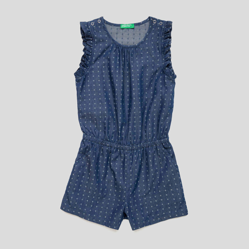 Short jumpsuit with rouches