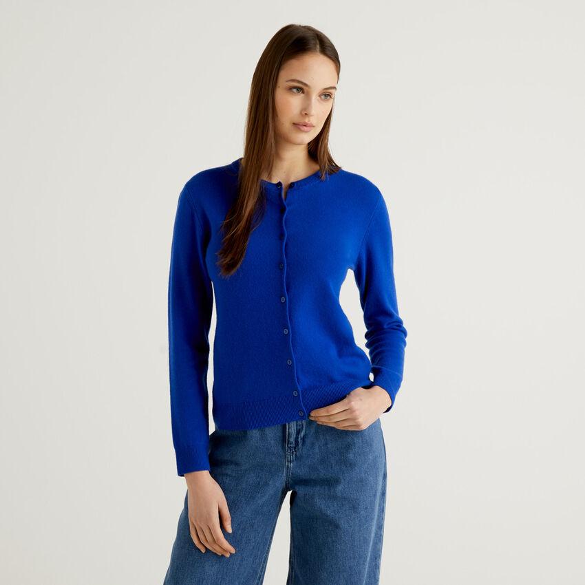 Cornflower blue crew neck cardigan in pure virgin wool
