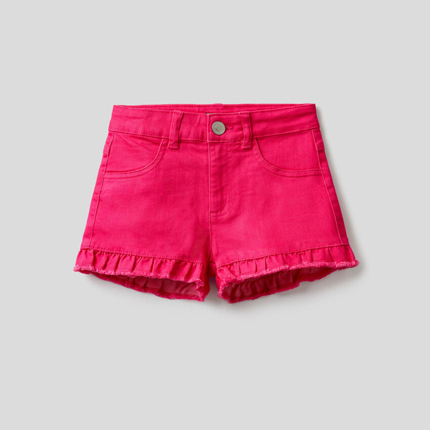 Solid color shorts with rouche