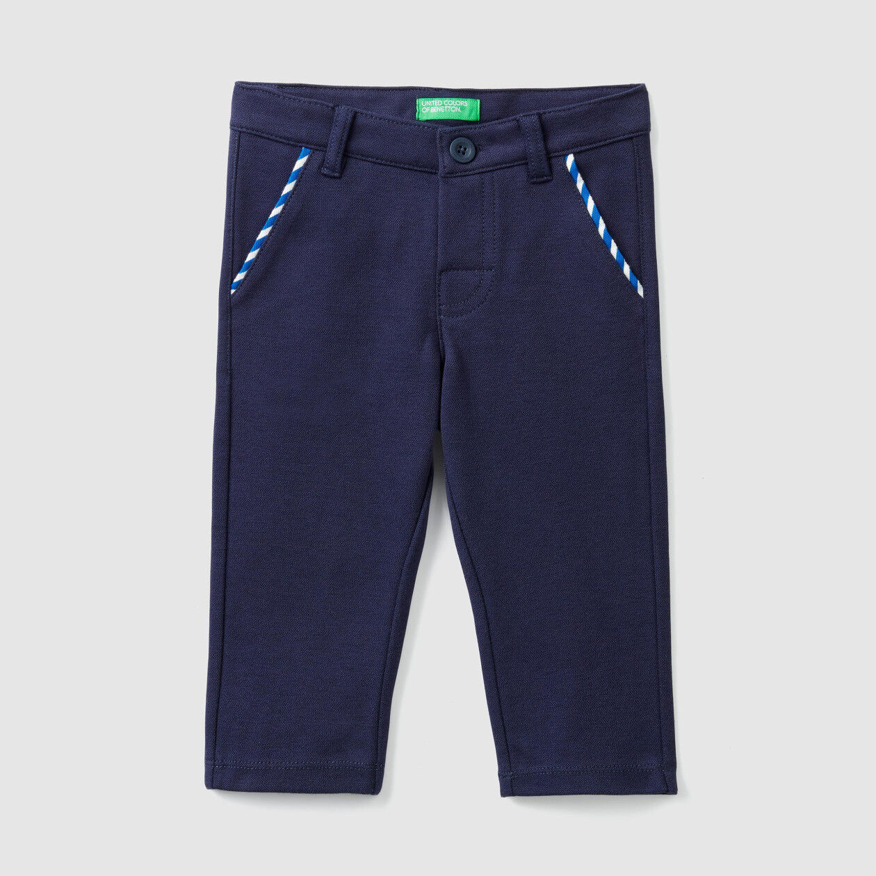 Trousers in stretch pique