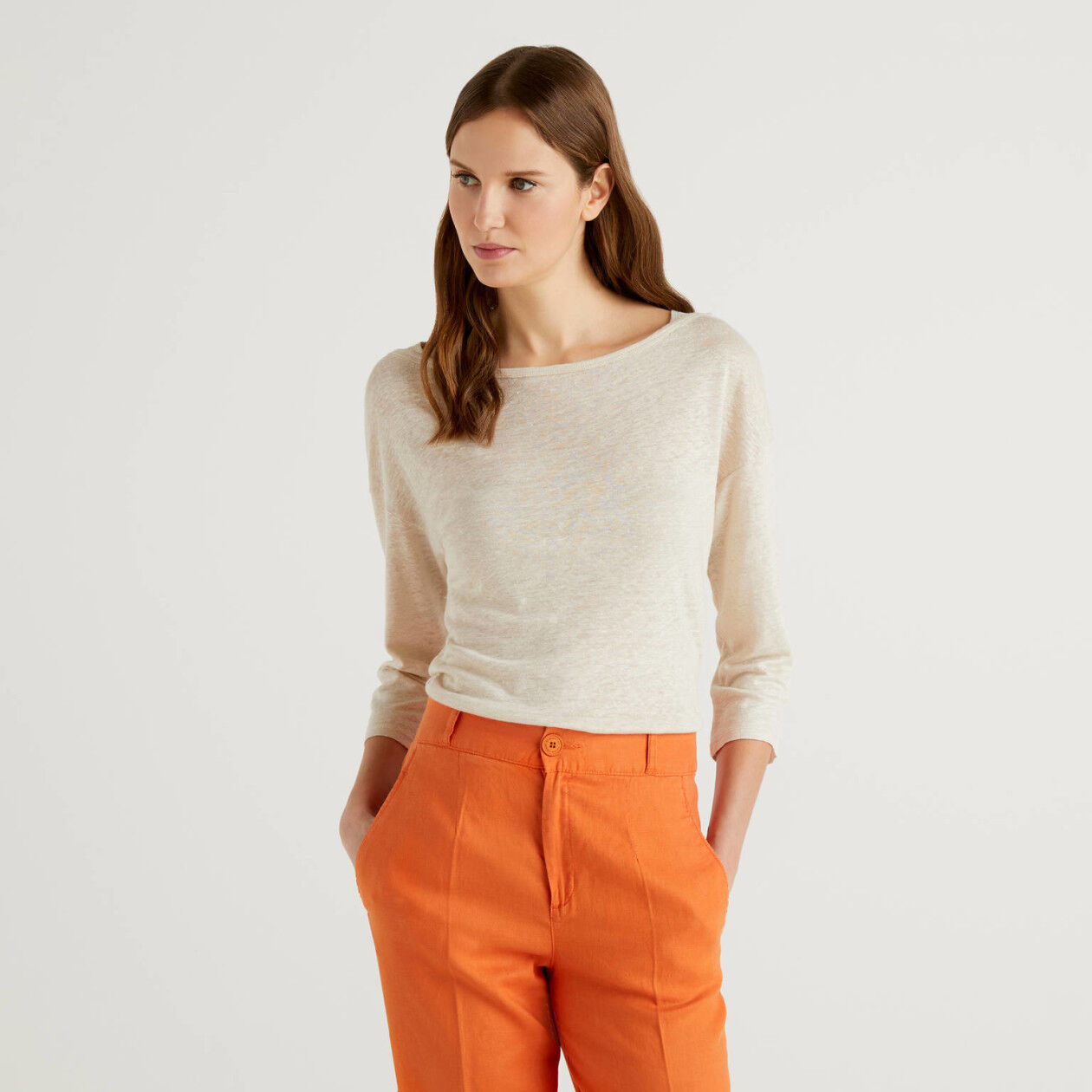 T-shirt in linen with 3/4 sleeves