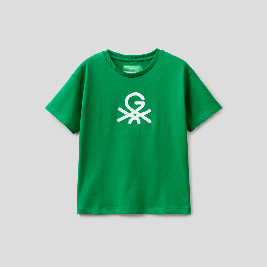 Green unisex t-shirt with print by Ghali