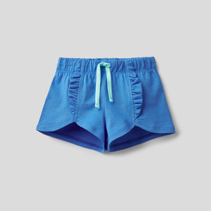 100% cotton shorts with rouches