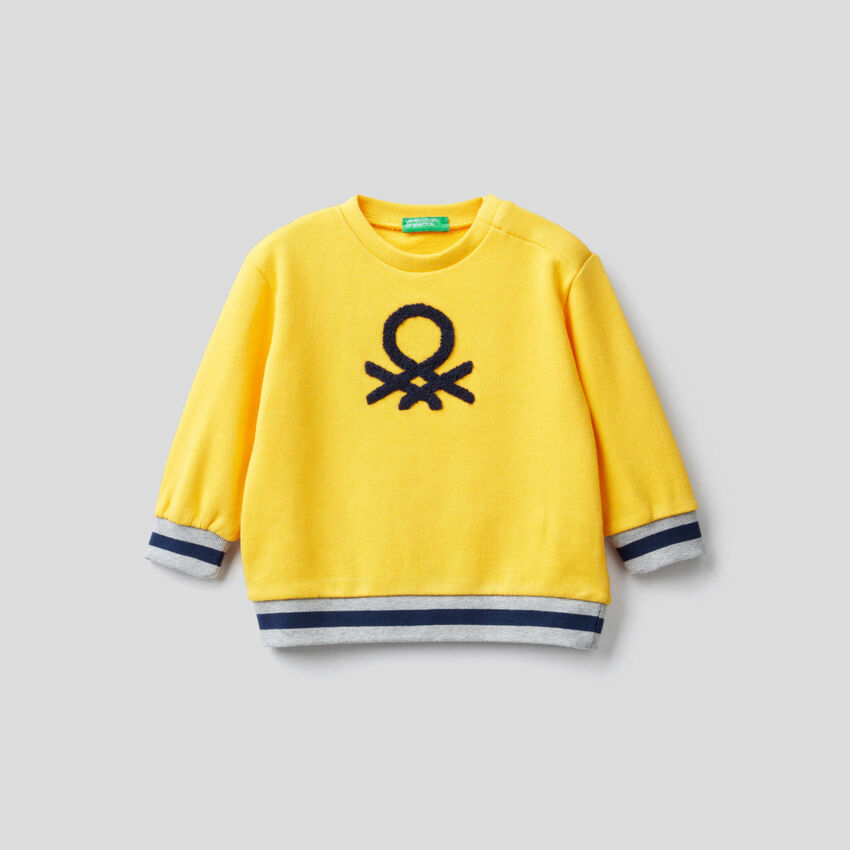 Sweatshirt in pure cotton with embroidered logo