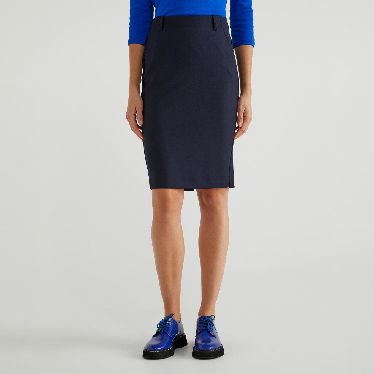 Pencil skirt in fresh wool