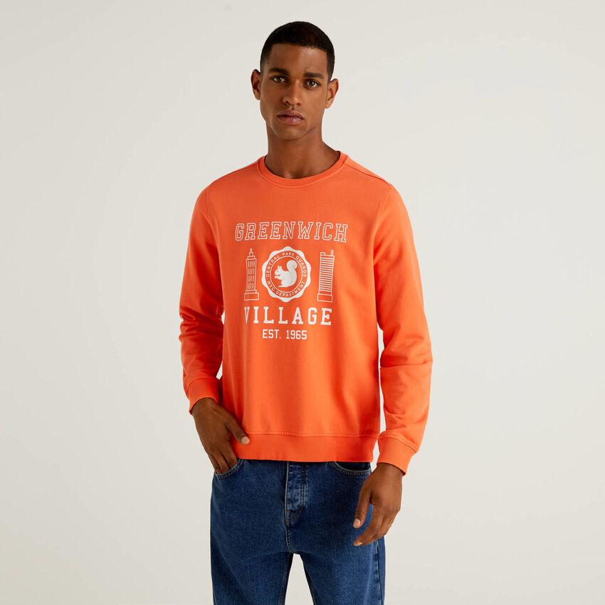 Sweatshirt in 100% organic cotton with print