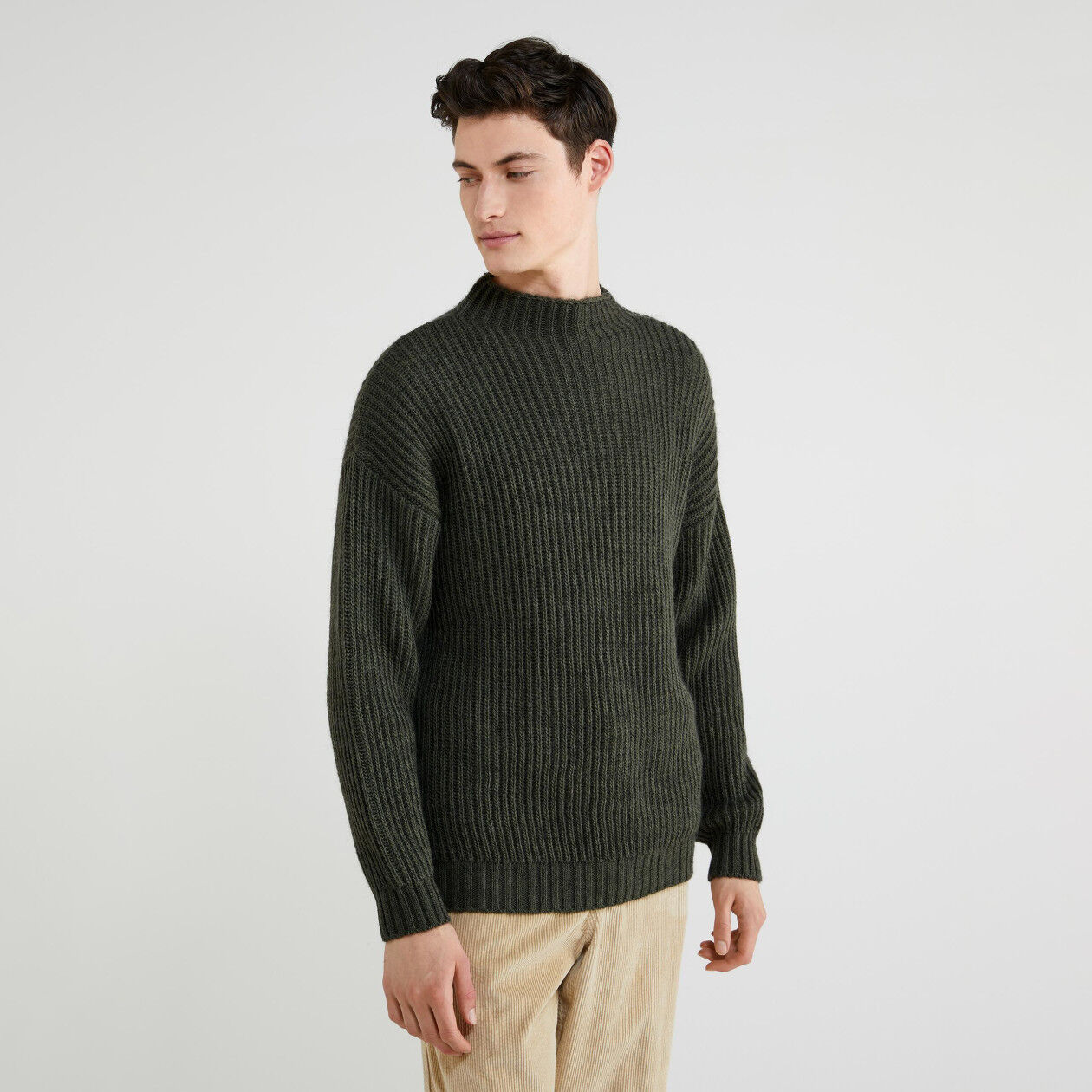 Turtleneck sweater in wool and alpaca