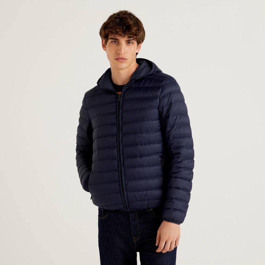 Dark blue lightweight puffer jacket with hood